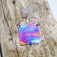 Coloured Titanium Square Necklace - UK Free Post