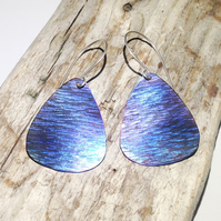 Handmade Coloured and Textured Triangular Titanium Earrings - UK Free Post
