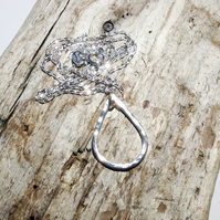 Handmade Sterling Silver Small Teardrop Pendant Necklace - UK Free Post