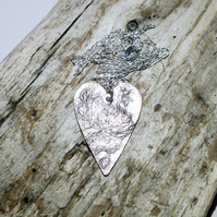 Sterling Silver Over Copper Reversible Heart Pendant - UK Free Post