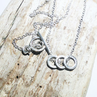 Sterling Silver Trio of Small Hoops Necklace - UK Free Post