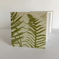 Ferns' concertina sketchbook, note book covered with hand printed linocut, ivory