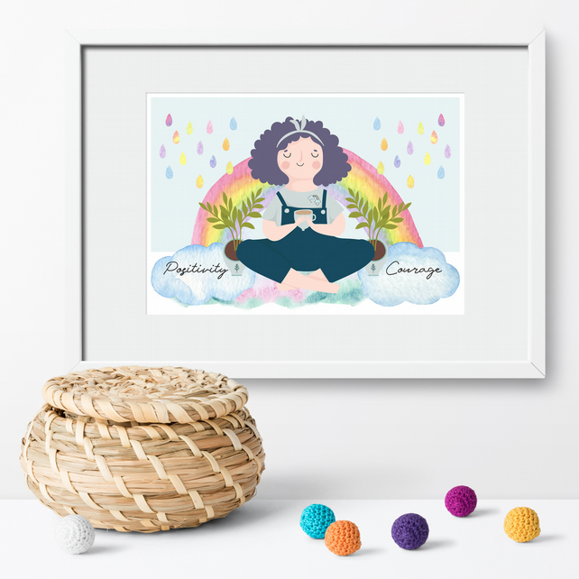 Positivity and Courage Rainbow art print, motivational print