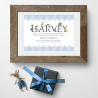 Personalised Name Meaning Alphabet Print, Blue, christening gift for new baby