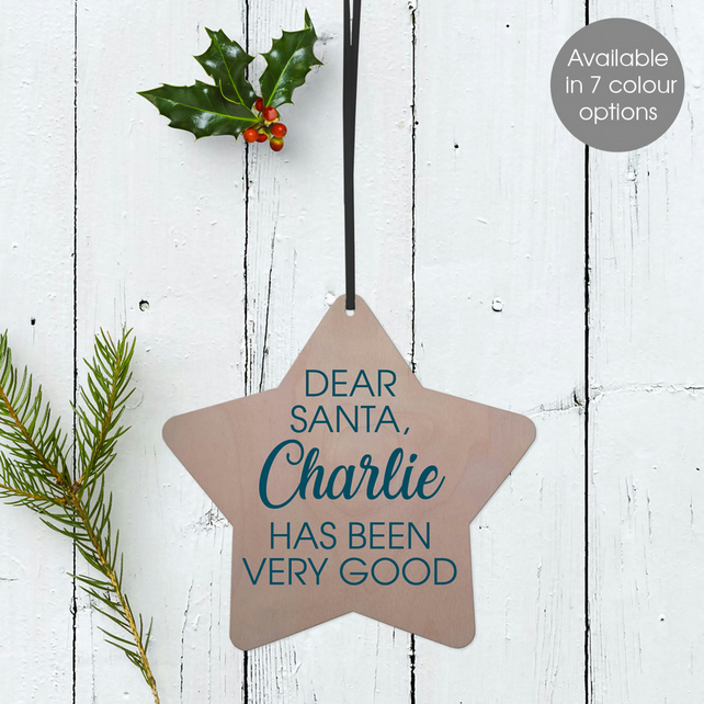 Personalised Dear Santa Christmas Star Wooden Tree Decoration
