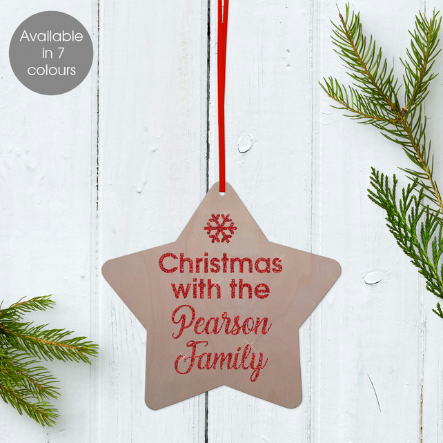 Personalised Family Christmas Star Wooden Tree Decoration