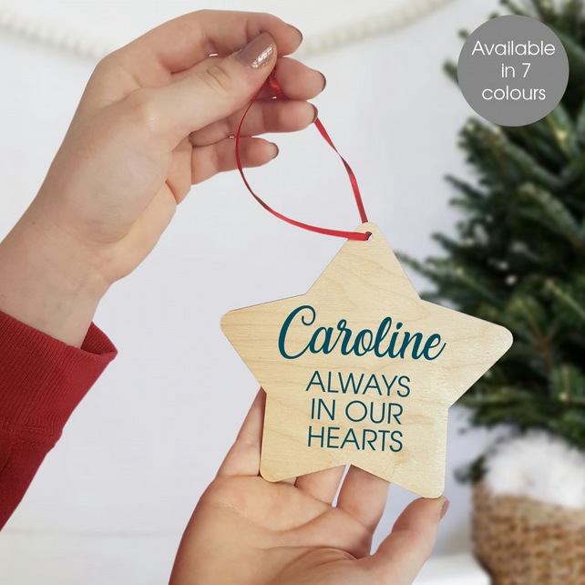 Personalised Memorial Christmas Star Wooden Tree Decoration
