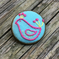 Hand Embroidered Pink and Yellow Bird Brooch