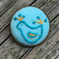 Hand Embroidered Teal and Mustard Bird Brooch