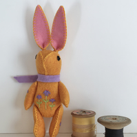 Hand Embroidered Little Golden Yellow Heathered Felt Bunny