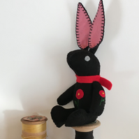 Hand Embroidered Little Black Felt Bunny