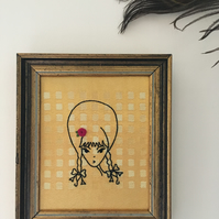 Hand Embroidered Girl on Vintage Gold Damask in a Vintage Frame