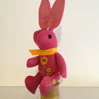 Hand Embroidered Little Fuchsia Pink Felt Bunny