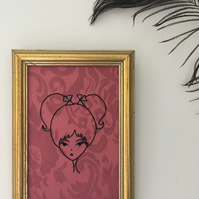 Hand Embroidered Girl on Vintage Dusty Pink Fabric in a Vintage Frame