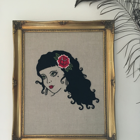 Hand Embroidered Woman (Tattoo Art Style) on Raw Linen in Vintage Frame