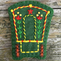 Hand Embroidered Gypsy Caravan Wool Felt Brooch