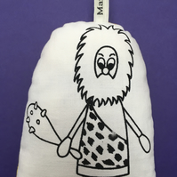 Hand Screen Printed Caveman Lavender Bag with 1970's Yellow Floral Fabric