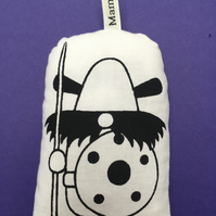 Hand Screen Printed Viking Lavender Bag with 1960's Vintage Fabric