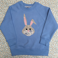 Handmade Appliqué Children's Bunny Sweatshirt, Using Vintage Fabrics