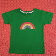 Handmade Appliqué Children's Rainbow T-Shirt, using Vintage Fabrics