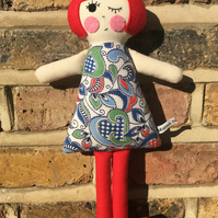 Poppy the Handmade Cloth Doll in a 1940's Blue and Green Patterned Vintage Dress