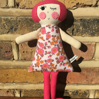 Rosie the Handmade Cloth Doll in a 1960's Pink and Orange Floral Vintage Dress.