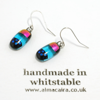 Pink Blue Dichroic Glass Drop Earrings