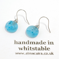 Blue Matt Glass Drop Earrings