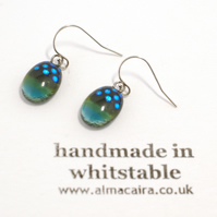Green, Blue and Black Dotty Dichroic Glass Drop Earrings