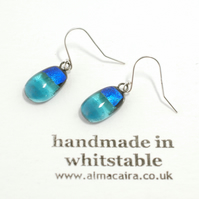 Blue Dichroic Glass Drop Earrings