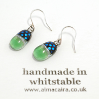 Green and Black Dichroic Glass Drop Earrings