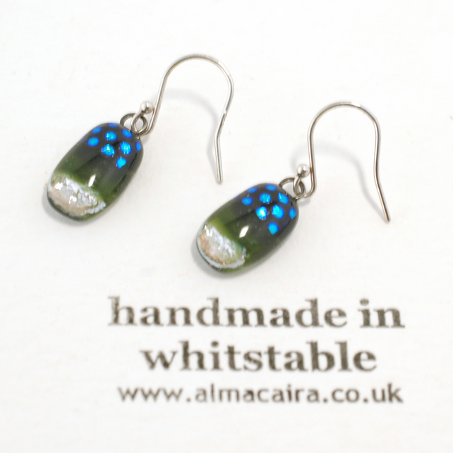 Green, Black and Silver Dichroic Glass Drop Earrings