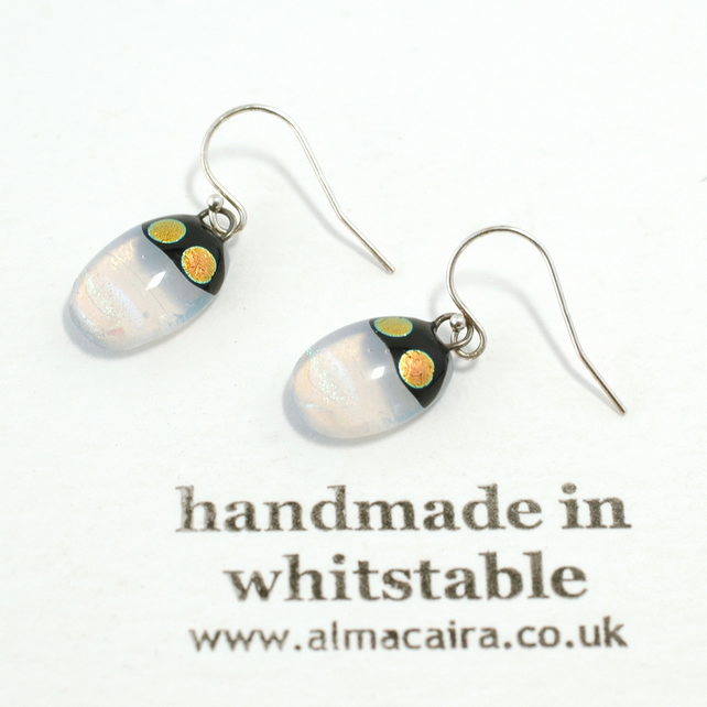 Opaline Dichroic Glass Drop Earrings