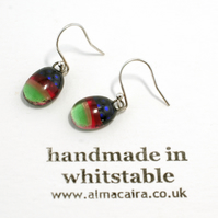 Green, Pink and Black Dotty Dichroic Glass Drop Earrings
