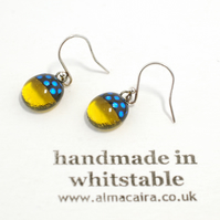 Yellow Black Dichroic Glass Drop Earrings