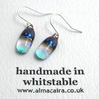 Purple and Blue Dichroic Glass Drop Earrings