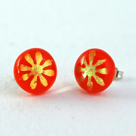 Orange and Gold Flower Glass Stud Earrings