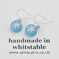 Blue Silver Snowflake Drop Earrings