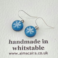 Blue Silver Snowflake Glass Drop Earrings
