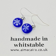 Cobalt Blue Silver Snowflake Drop Earrings