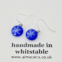 Cobalt Blue Silver Snowflake Glass Drop Earrings