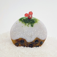 Fused Glass Christmas Pudding Decoration