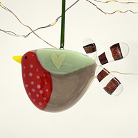 Fused Glass Robin Decoration