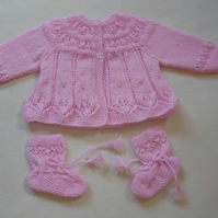 Hand-Knitted Coat and Bootees for Baby Girl - Pink
