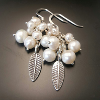 Cultured Freshwater Pearl Cluster Earrings. Cluster pearl earrings with sterling
