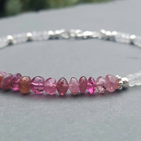 Dainty Pink Tourmaline and Moonstone Beaded Bracelet. Sterling Silver Stacking B