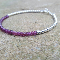 Dainty Garnet and Sterling Silver Bracelet with Toggle Clasp.