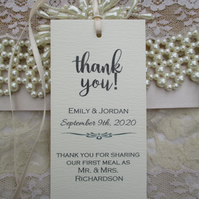 Thank You for Sharing Our First Meal - Wedding Napkin Ties- Ivory Cream Wedding