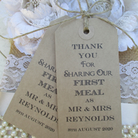Wedding Napkin Ties-Wedding Table Decor Tags Personalised Thank You for Sharing