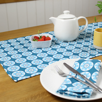 Blue Daisy Tree Fabric Table Runner